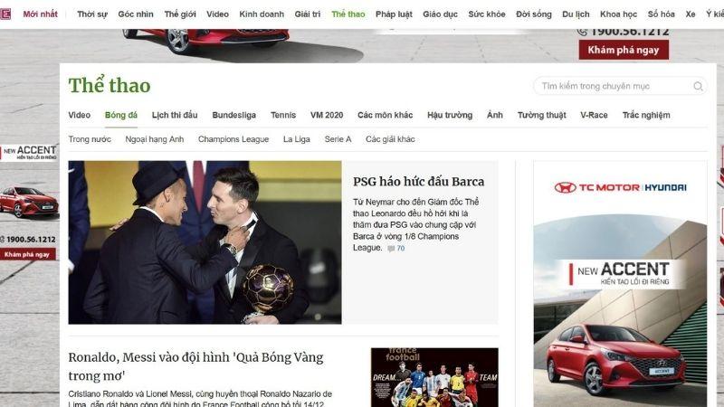 Tin bóng đá trên Vnexpress