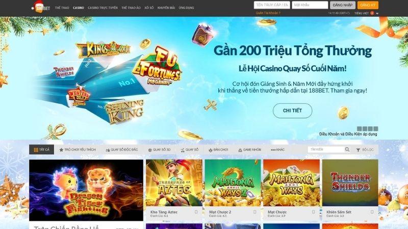 Slot games - Sản phẩm cá cược tại 188BET