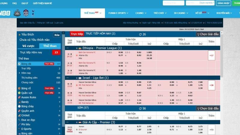 Sản phẩm cá cược tại FUN88 - Cá cược thể thao