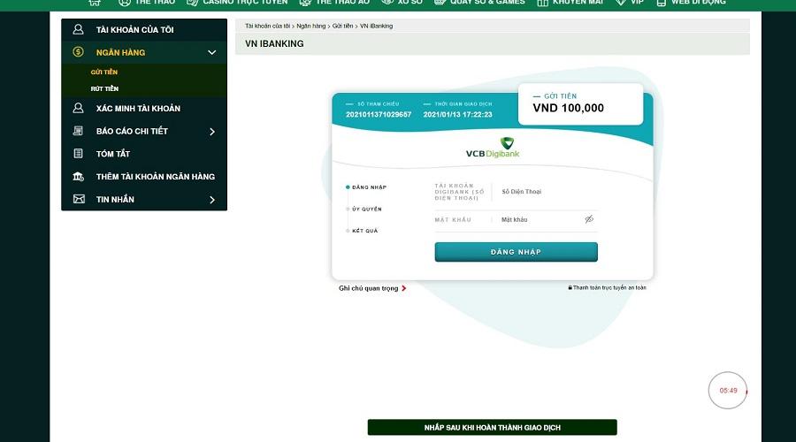 Hướng dẫn cách nạp tiền vào V9BET bằng chuyển khoản  8