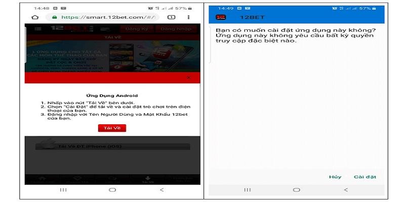 Cách tải ứng dụng 12bet mobile về điện thoại 1