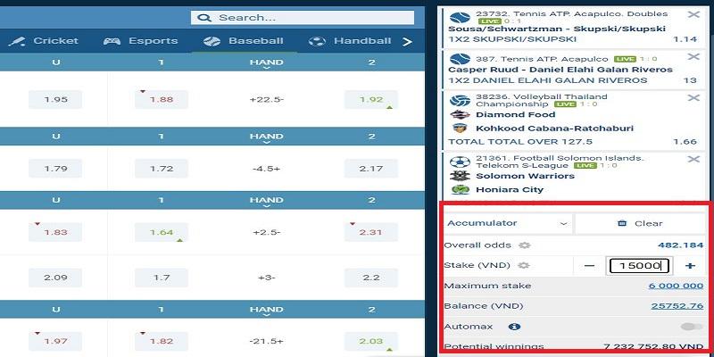 Ví dụ về cược xiên điển hình trong cá độ bóng đá 2