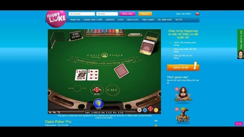 Trải nghiệm casino trực tuyến chỉ có tại Happyluke