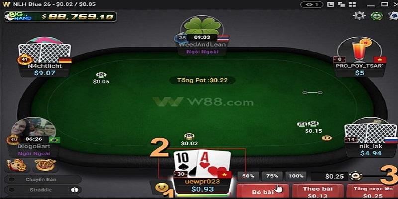 Đánh Poker online tại W88