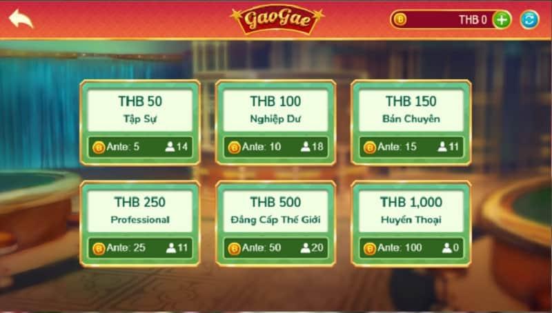 Các mức cược trong game Gao Gae trên VN88