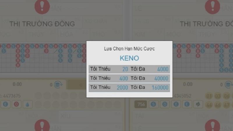 Lựa chọn mức cược khi chơi Keno VN88